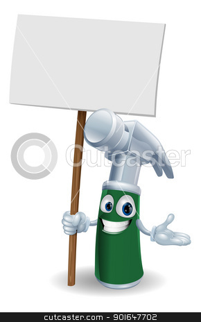 Hammer mascot holding sign stock vector clipart, Claw hammer tool cartoon character mascot illustration holding a sign post  by Christos Georghiou