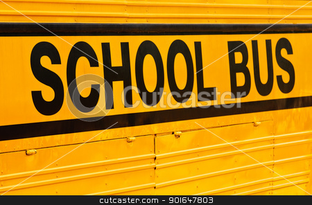 School bus stock photo, The letters 'school bus' on bright color background by Sura Nualpradid