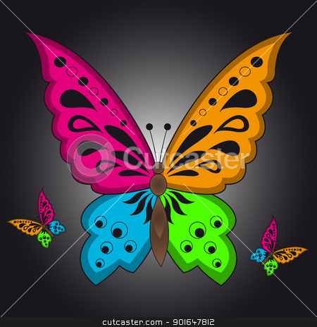 Colorful Butterfly stock vector clipart, Color illustration of a colorful butterfly on black background by kurkalukas