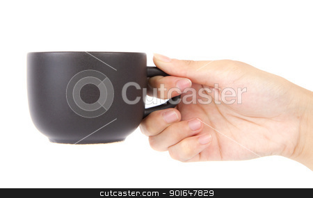 Female hand holding a cup of coffee. stock photo, Female hand holding a cup of coffee on a white background. by thepoo