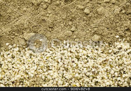 hemp seeds and protein powder stock photo, texture of shelled hemp seeds and protein powder by Marek Uliasz