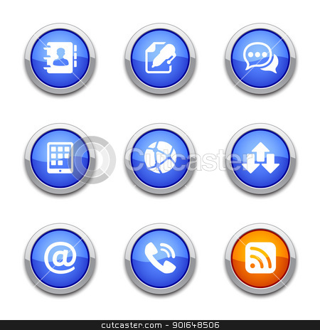 blue communication icons stock vector clipart, blue communication icons for your design by artizarus