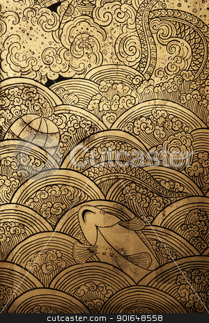 Golden texture stock photo, Golden texture line thai by cookiecutter