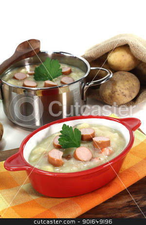 Potato soup stock photo, Potato soup with Wiener sausage, greens and parsley by Maren Wischnewski