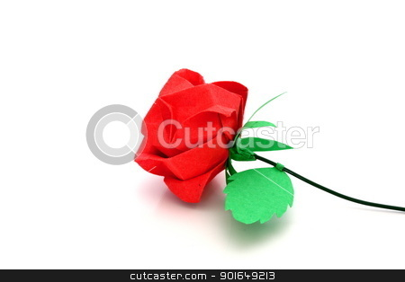 rose origami stock photo, red rose origami over white background by coroiu octavian