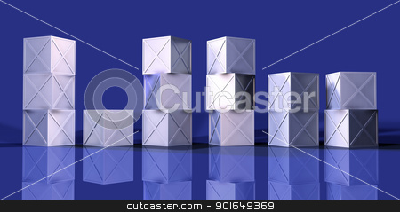 Stacked Iron Boxes stock photo, 3D Illustration. Rough casted Iron Material.  by Michael Osterrieder