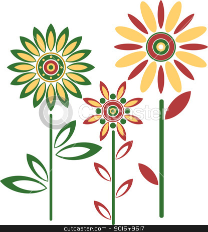 Abstract vector flowers stock vector clipart, Abstract vector flowers by vtorous