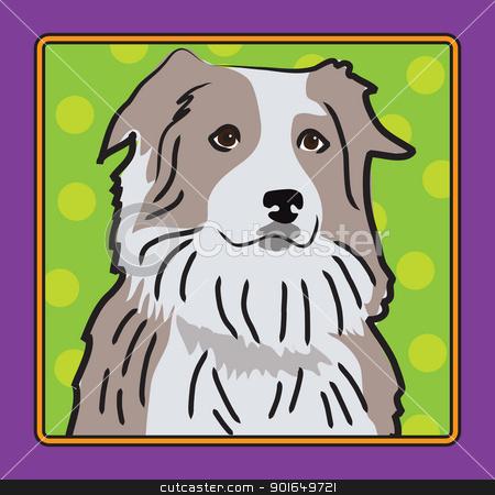 Australian Shepherd Cartoon stock vector clipart, A cartoon image of an Australian Shepherd, created in the folk art tradition. by Maria Bell