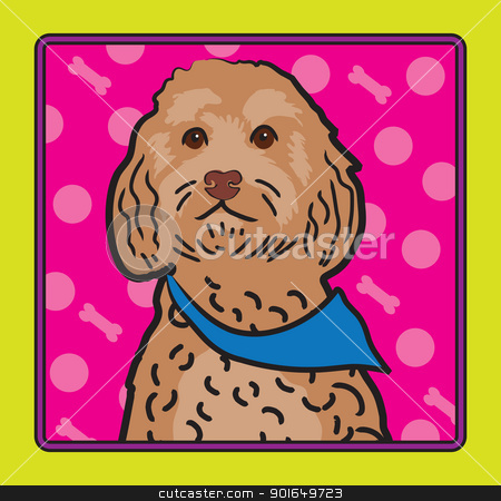 Cockapoo Cartoon stock vector clipart, A cartoon image of an Cockapoo dog, created in the folk art tradition. by Maria Bell