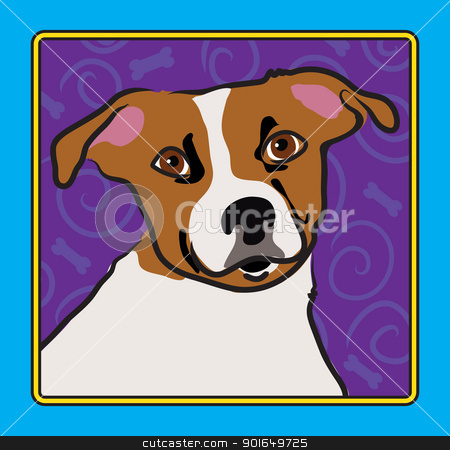 Jack Russell Cartoon stock vector clipart, A cartoon image of a Jack Russell Terrier, created in the folk art tradition. by Maria Bell