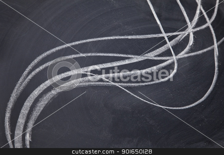 line abstract on blackboard stock photo, line cluster abstract - white chalk drawing on blackboard by Marek Uliasz