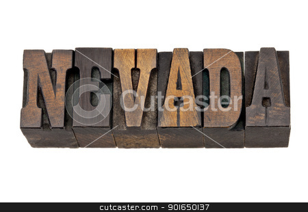 Nevada - state name in letterpress stock photo, Nevada - isolated word in vintage letterpress wood type - French Clarendon font popular in western movies and memorabilia by Marek Uliasz