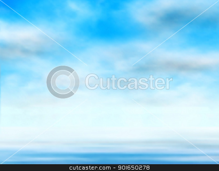 Sky over water stock vector clipart, Editable vector illustration of clouds in a blue sky over water made using a gradient mesh by Robert Adrian Hillman