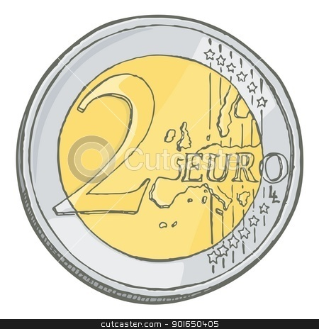 Two euros coin sketch stock vector clipart, Grunge sketch of two euro coin isolated on white. by fractal.gr