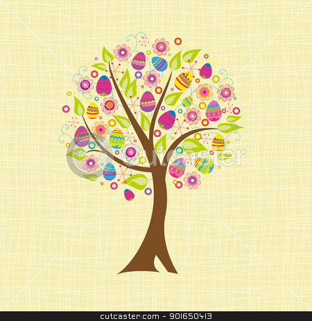 tree stock vector clipart, abstract tree with Easter eggs by Miroslava Hlavacova
