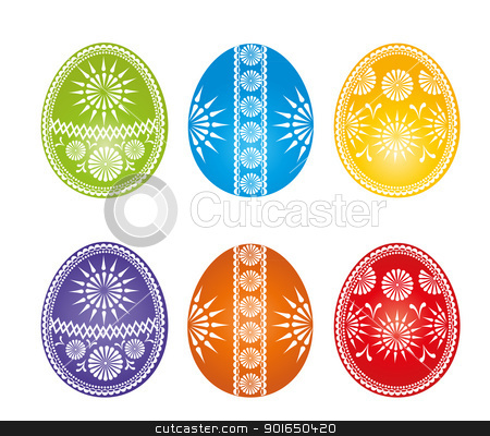 eggs stock vector clipart, Easter eggs more colors on a white background by Miroslava Hlavacova
