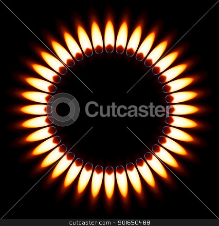 Gas Flame. stock photo, Red Gas Flame. Illustration on black background by dvarg