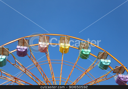 ferris wheel and blue sky background stock photo, ferris wheel and blue sky background by tomwang