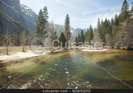 Yosemite Valley River on Spring Day stock photo, Dramatic Yosemite Valley River on a Spring Day. by Andy Dean