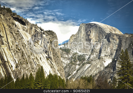 View of Half Dome at Yosemite on Spring Day stock photo, Dramatic View of Half Dome at Yosemite on a Spring Day. by Andy Dean