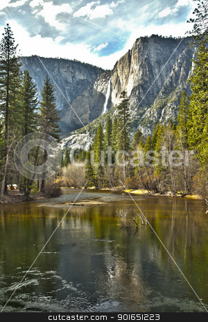 Yosemite River and Upper Falls HDR stock photo, Dramatic Yosemite River and Upper Falls HDR Image. by Andy Dean