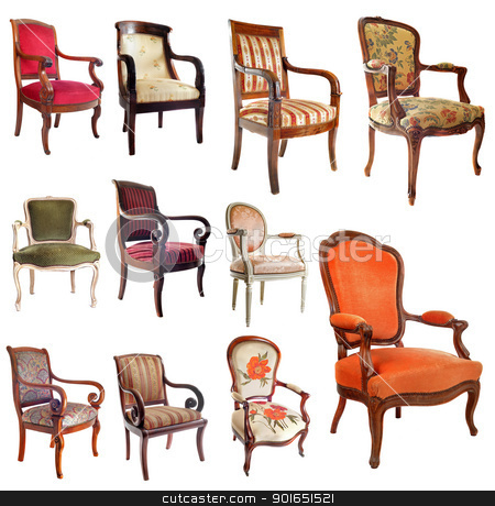antique chairs stock photo, composite picture with antique chairs in front of white background by Bonzami Emmanuelle