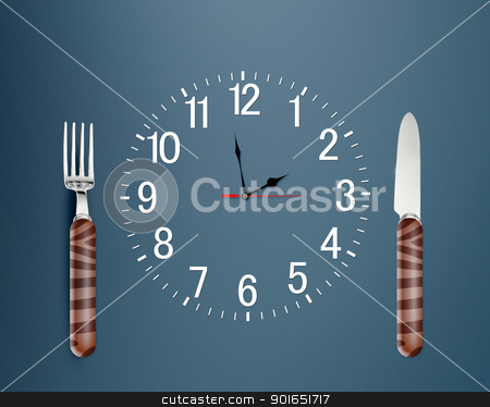 mealtime stock photo, Lunch time concept, Clock in plate, knife and fork by Designsstock