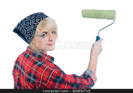 Woman painter stock photo, Young woman - home painter on isolated background by Aikon