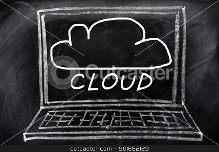 Cloud computing stock photo, Cloud computing concept drawn on a smudged blackboard by John Young