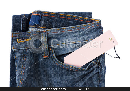 New Blue jeans trouser and tag stock photo, New Blue jeans trouser and tag isolated on the white background by stoonn