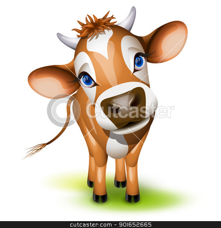 Little jersey cow stock vector clipart, Little jersey cow with a cocked head and blue eyes by Laurent Renault