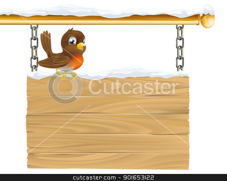Winter robin sign stock vector clipart, Illustration of a cute Robin red breast sitting on winter sign covered in snow by Christos Georghiou