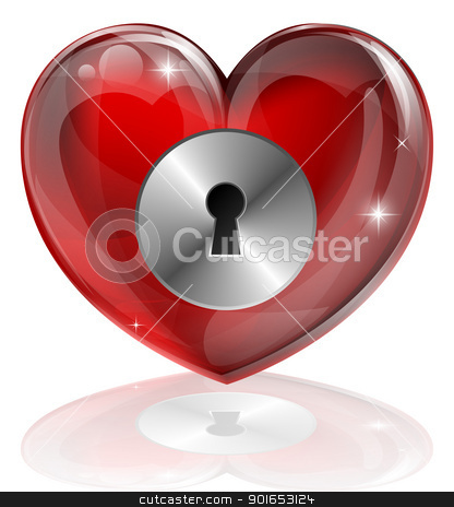 Heart lock stock vector clipart, Illustration of a heart shaped lock with keyhole. Concept for loneliness, unlocking love, being guarded, health related or other subjects. by Christos Georghiou