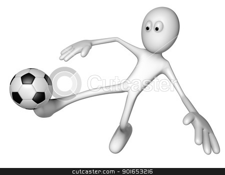 soccer stock photo, white guy with soccer ball - 3d illustration by J?