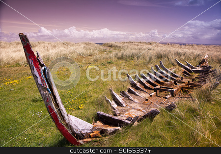 shipwreck stock photo, wreck of a traditional Irish rowing boat at the Dingle pininsula Ireland by Dirk Ercken