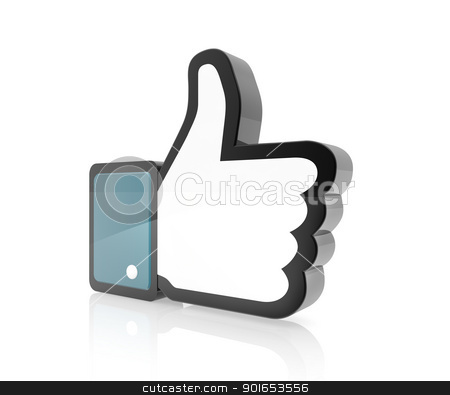 Hand Cursor - Thumb Up stock photo, 3d of like icon thumbs up by manaemedia