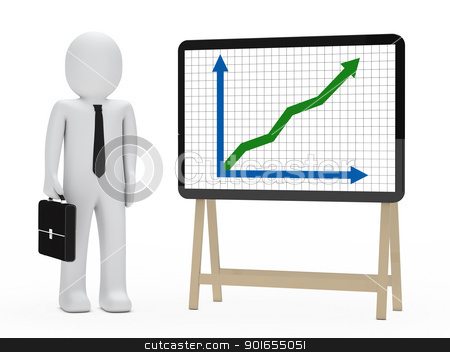 businessman signboard graph stock photo, businessman with briefcase stand next signboard graph by d3images