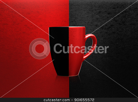 Two colors mug stock photo, Two colors mug on red and black background,  by Designsstock