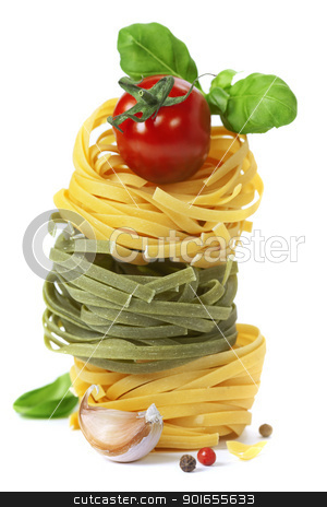 Italian pasta stock photo, Italian pasta fettuccine nests with tomato and basil  isolated on white background by klenova