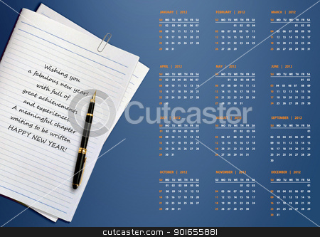 New year 2012 Calendar stock photo, New year 2012 Calendar with conceptual image of new year greeting. by Designsstock