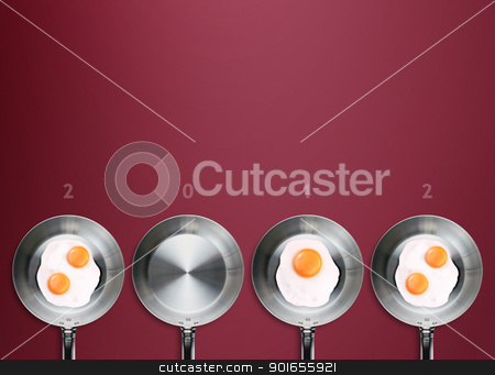 Happy new year 2012 stock photo, Happy new year 2012, conceptual images Fried eggs in a frying pans creating 2012 year number. by Designsstock