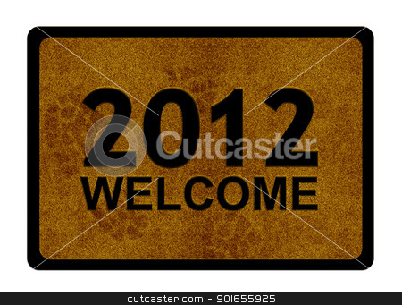 Happy new year 2012 stock photo, Happy new year 2012, conceptual image for 2012 year on welcome cleaning foot carpet. by Designsstock