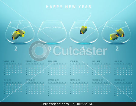 New year 2012 Calendar stock photo, New year 2012 Calendar with conceptual image of angelfish in fishbowl. by Designsstock