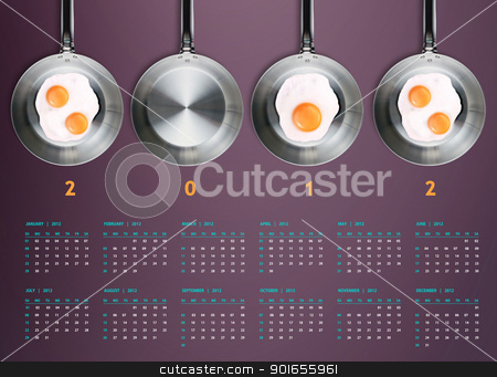 New year 2012 Calendar stock photo, New year 2012 Calendar with conceptual image of Fried eggs in a frying pans creating 2012 year number. by Designsstock