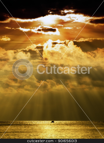 Stormy sunset stock photo, Last sun rays are falling on the horizon of the Adriatic sea under stormy clouds... by Sinisa Botas