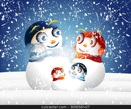 Snowman Family stock photo, Snowman family by Designsstock
