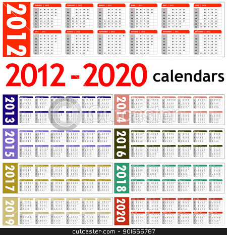 New year 2012 - 2020 Calendars stock photo, New year 2012, 2013,  2014,  2015,  2016,  2017,  2018,  2019,  2020 Calendars  by Designsstock