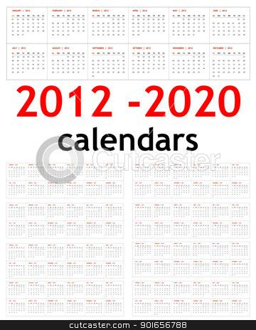 New year 2012 - 2020 Calendars stock photo, New year 2012, 2013,  2014,  2015,  2016,  2017,  2018,  2019,  2020 Calendars  by Designsstock