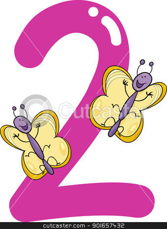 number two and 2 butterflies stock vector clipart, cartoon illustration with number two and butterflies by Igor Zakowski
