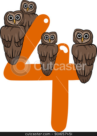 number four and 4 owls stock vector clipart, cartoon illustration with number four and owls by Igor Zakowski